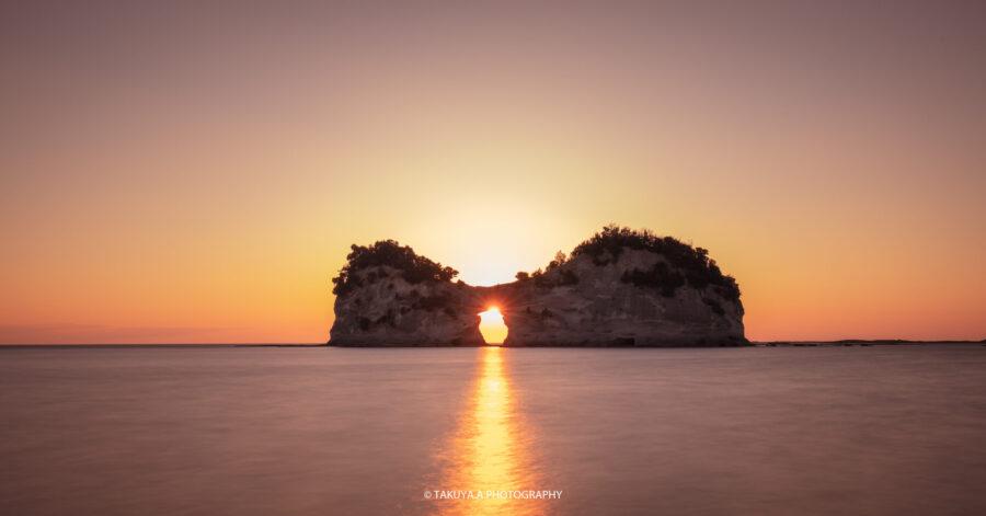 和歌山県の絶景 円月島の夕日