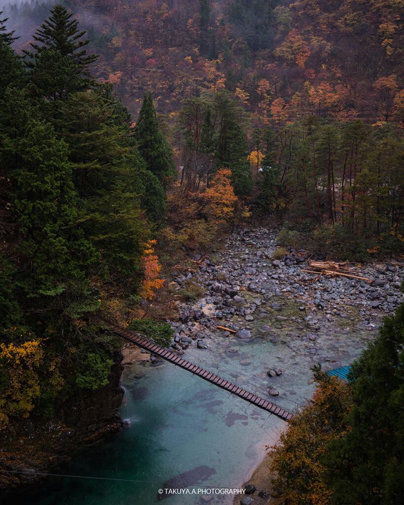 岐阜県の絶景 付知峡攻橋の紅葉