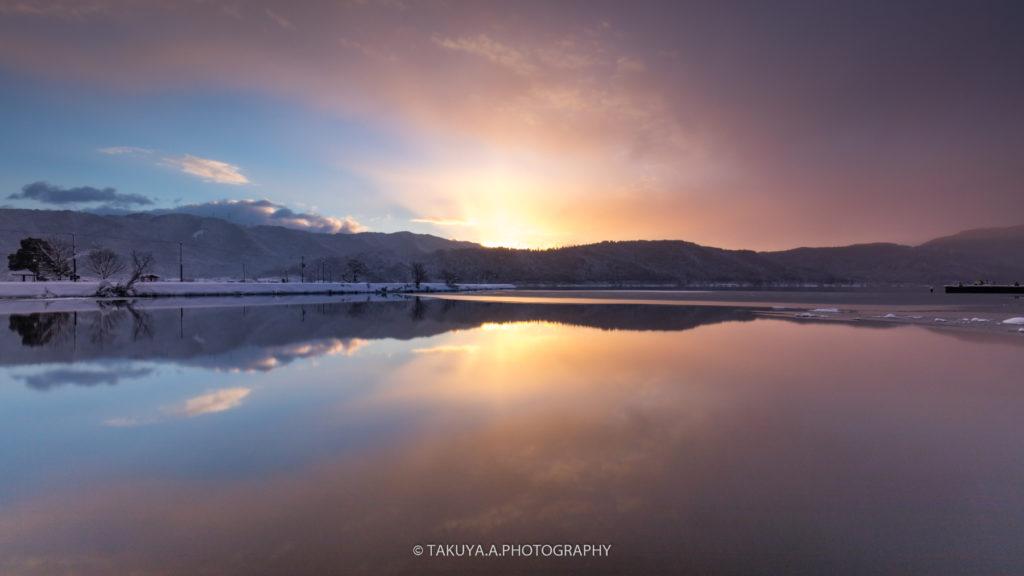 滋賀県の絶景 余呉湖の雪景色4