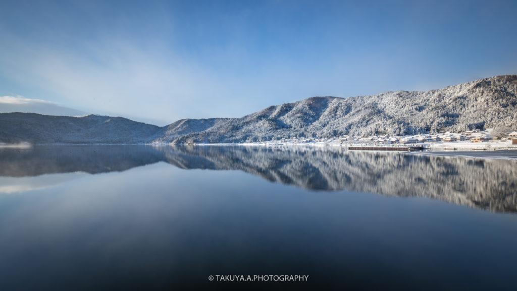 滋賀県の絶景 余呉湖の雪景色5
