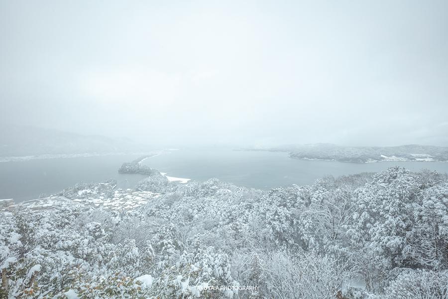 京都府の絶景 天橋立 飛龍観の雪景色
