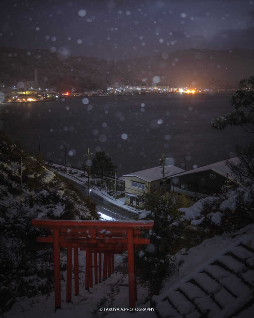 京都府の絶景 天橋立 雪舟観と獅子崎稲荷神社の雪景色