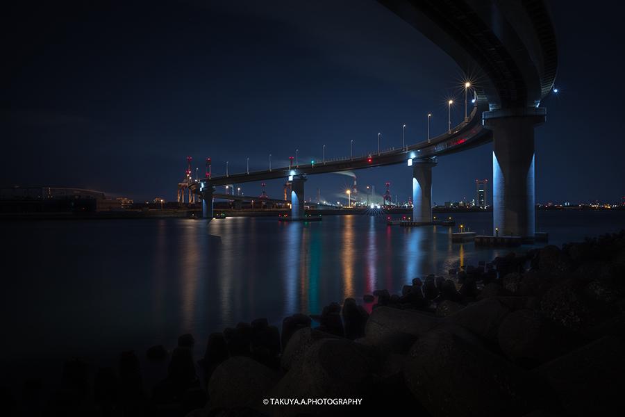 三重県の絶景 四日市工場夜景 いなばポートライン橋脚下